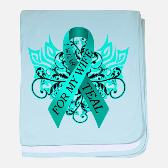 I Wear Teal for my Wife baby blanket