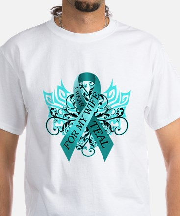 I Wear Teal for my Wife White T-Shirt