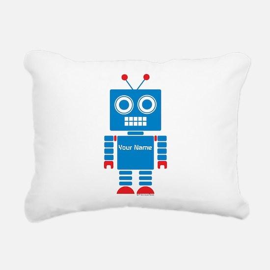 Custom Blue Robot Rectangular Canvas Pillow