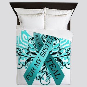 I Wear Teal for my Sister Queen Duvet