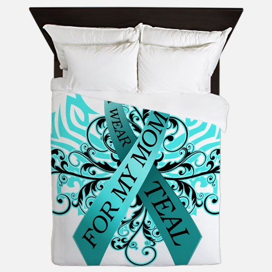 I Wear Teal for my Mom Queen Duvet