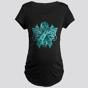 I Wear Teal for my Mom Maternity Dark T-Shirt