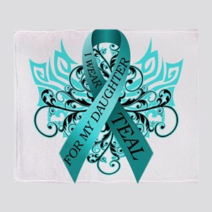 I Wear Teal for my Daughter Throw Blanket
