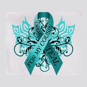 I Wear Teal for my Cousin Throw Blanket