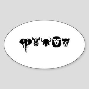 Africa animals big five Sticker (Oval)