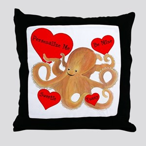Personalized Octopus Valentine Throw Pillow