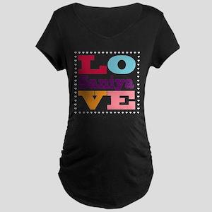 I Love Saniya Maternity Dark T-Shirt