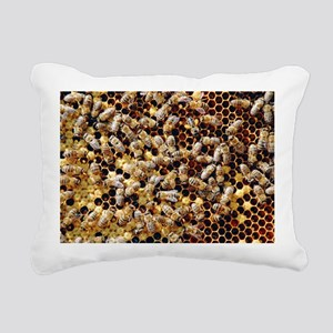 Honey bees on a honeycomb - Rectangular Canvas Pil