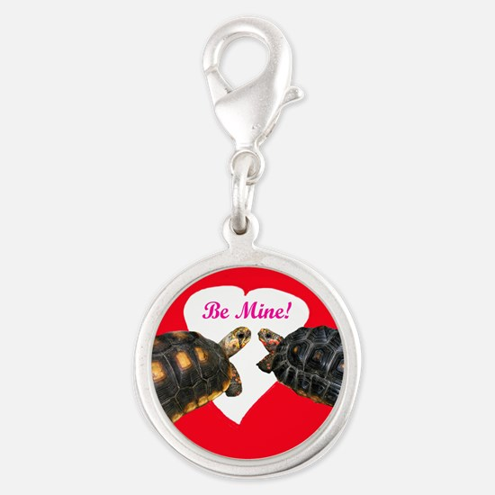Be Mine Redfoot Tortoises Silver Round Charm