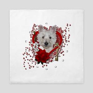 Valentines - Key to My Heart - Westie Queen Duvet
