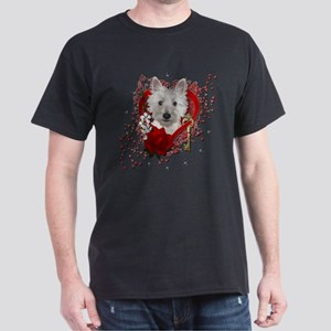 Valentines - Key to My Heart - Westie Dark T-Shirt