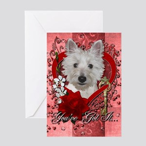 Valentines - Key to My Heart - Westie Greeting Car