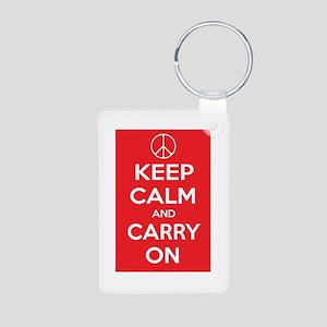 KEEP CALM Peace Sign Aluminum Photo Keychain