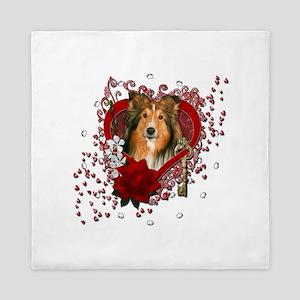 Valentines - Key to My Heart - Sheltie Queen Duvet