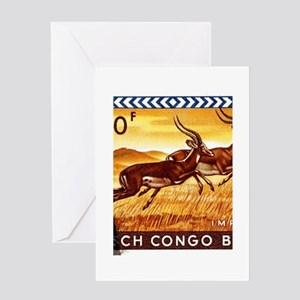 1959 Belgian Congo Impalas Postage Stamp Greeting