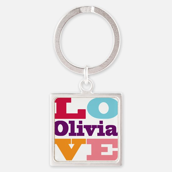 I Love Olivia Square Keychain