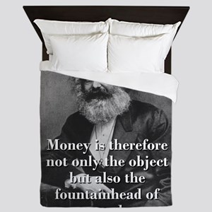 Money Is Therefore - Karl Marx Queen Duvet