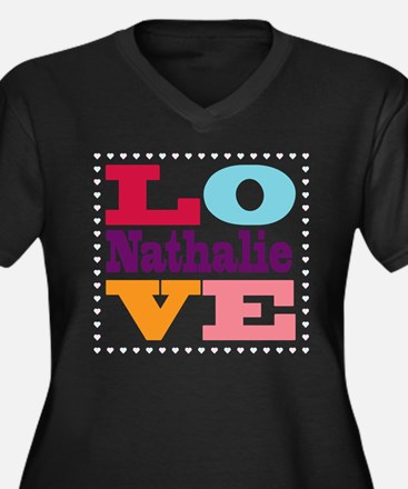 I Love Nathalie Women's Plus Size V-Neck Dark T-Sh