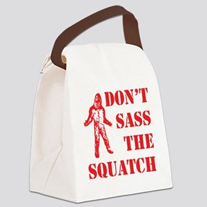 dont sass the squatch red Canvas Lunch Bag