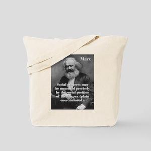 Social Progress May Be Measured - Karl Marx Tote B
