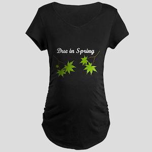 Due in Spring Maternity Dark T-Shirt