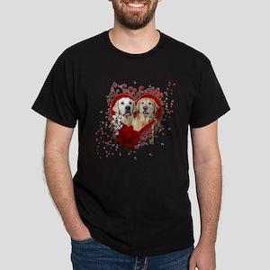 Valentines - Key to My Heart - Goldens Dark T-Shir