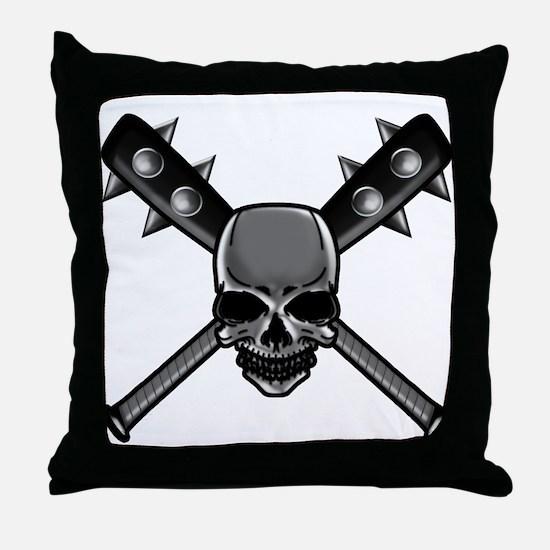 SkullCrossbats copy Throw Pillow