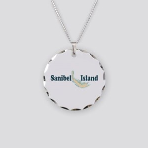 Sanibel Island - Map Design. Necklace Circle Charm