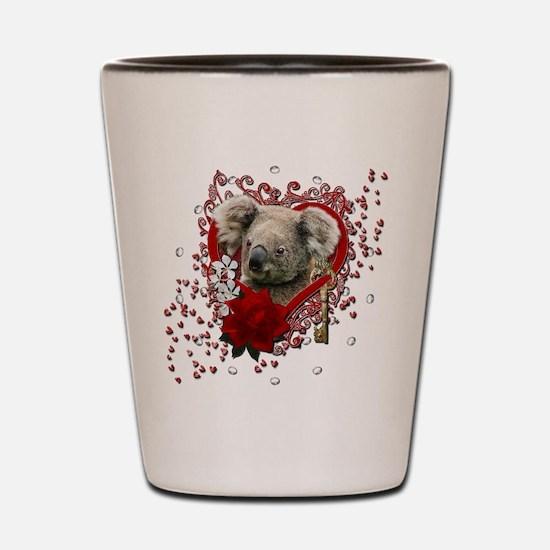 Valentines - Key to My Heart - Koala Shot Glass