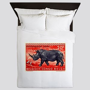 Vintage 1959 Belgian Congo Rhinoceros Stamp Queen