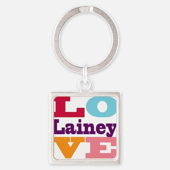 I Love Lainey Square Keychain