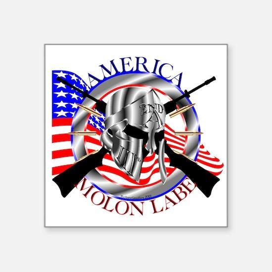 """Molon Labe America 2nd Amendment Square Sticker 3"""""""