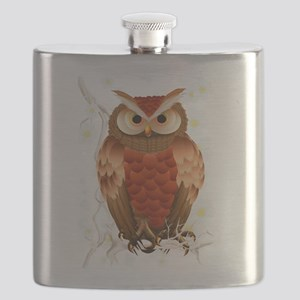 Bright Brown Owl - White Blooms-Trans Flask