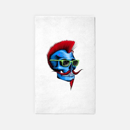 Neon Hipster Skull Blue 3'x5' Area Rug
