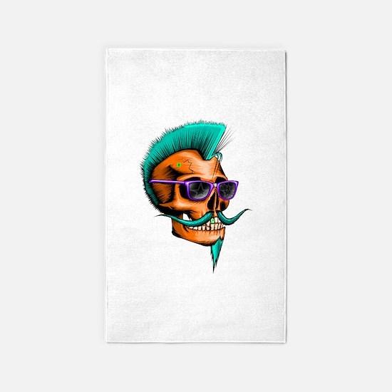 Neon Hipster Skull Orange 3'x5' Area Rug