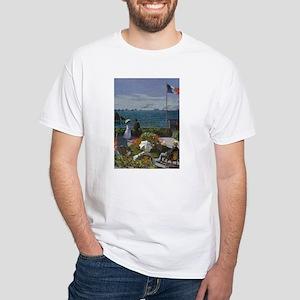 Jardin à Sainte Adresse by Monet White T-Shirt