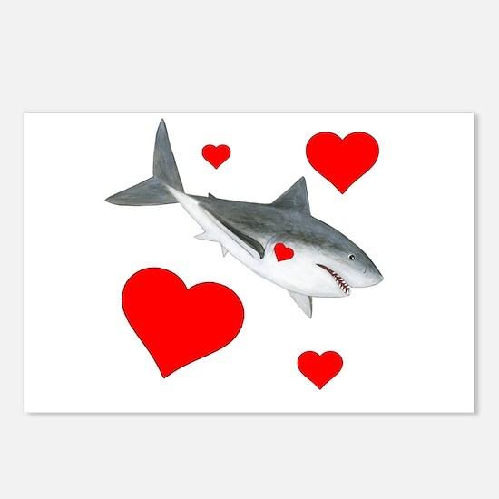 Shark Valentine Postcards (Package of 8)