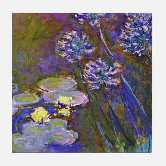 Monet Waterilies and Agapanthus Tile Coaster