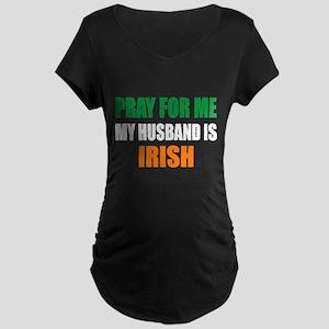 Pray Husband Irish Maternity Dark T-Shirt