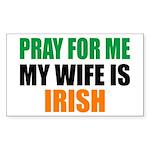 Pray Wife Irish Sticker (Rectangle)