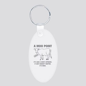 A Moo Point Aluminum Oval Keychain