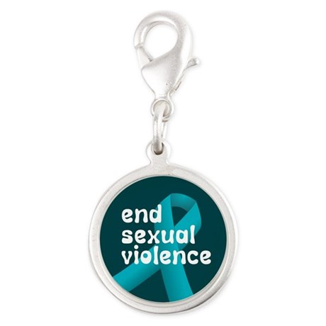 End sexual violence teal ribbon Silver Round Charm