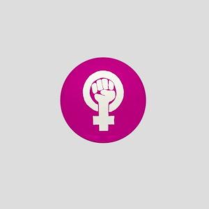 Pink feminist symbol Mini Button