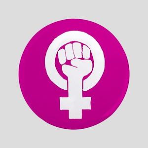 "Pink feminist symbol 3.5"" Button"