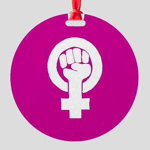 Pink feminist symbol Round Ornament