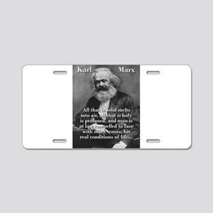 All That Is Solid - Karl Marx Aluminum License Pla
