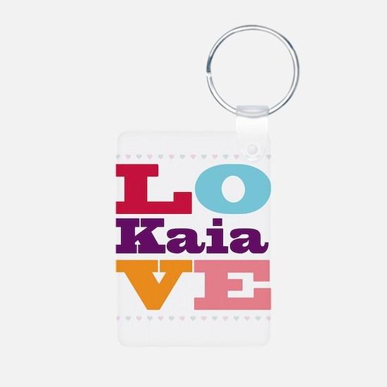 I Love Kaia Aluminum Photo Keychain