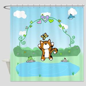 Calico Kitten Butterfly (sc) Shower Curtain