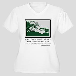 Relaxing Walk Women's Plus Size V-Neck T-Shirt