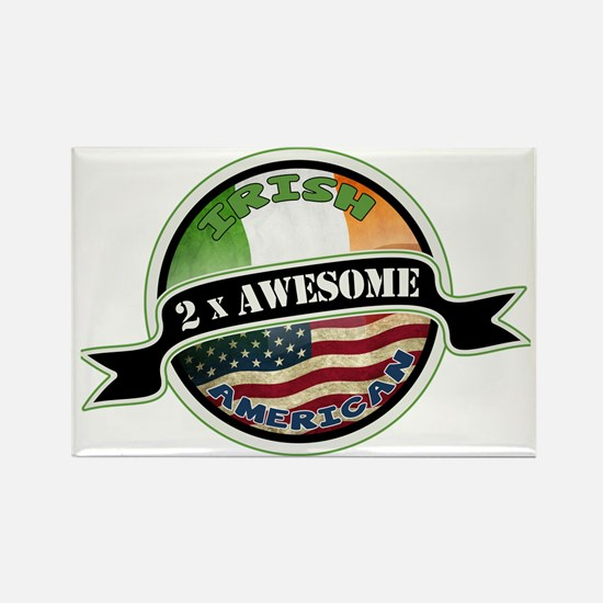 2x Awesome Irish American Rectangle Magnet (100 pa